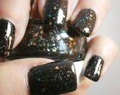 Drill Baby Drill Nail Lacquer - Slickery Black Glitter Custom Nail Polish - Full Size Jar With Clear and Brush
