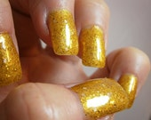 24 K Gold Bullion Nail Lacquer -  Pure Yellow Gold Glitter Custom Nail Polish- Full Size Jar With Clear and Brush