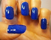 Candice Avenue Nail Lacquer -  Deep Cobalt Blue Shimmering Glitter Custom Nail Polish - Full Size Jar With Clear and Brush