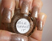 Milk Shake It Nail Lacquer - Cocolicious Iced Chocolate Glitter Custom Nail Polish - Full Size Jar With Clear and Brush