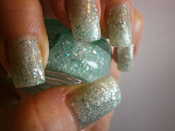 Daiquiri Ice Nail Lacquer -  Glistening Green Glitter Custom Nail Polish - Full Size Jar With Clear and Brush