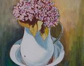 SHIPPING FREE Original acrylic painting - Hydrangeas
