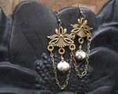 Handmade chain chandelier and White criss-cross lampwork Earrings