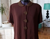 Vintage 1940s copper beaded chocolate crepe blouse VLV 40s XL  Bust 44 Deco