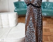 Vintage Leopard Vanity Fair night gown long small size 32 VLV Sexy Kitty Meow maybe a dress Velvet Trim