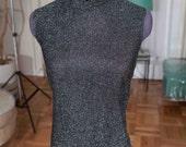 Vintage Lurex mock turtle neck blouse JD Bad Girl VLV Mad men