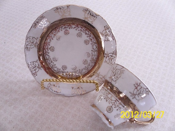 Antique Demitasse Tea Cup & Saucer-White With Gold Flower Pattern