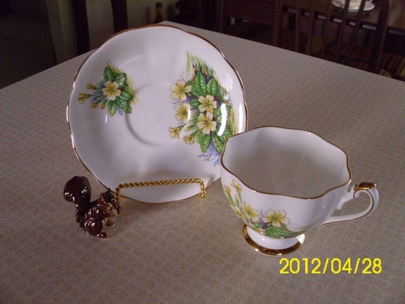 Vintage Cup And Saucer-Fine Bone China-England-Tea-Coffee-Yellow-Green-Gold Floral