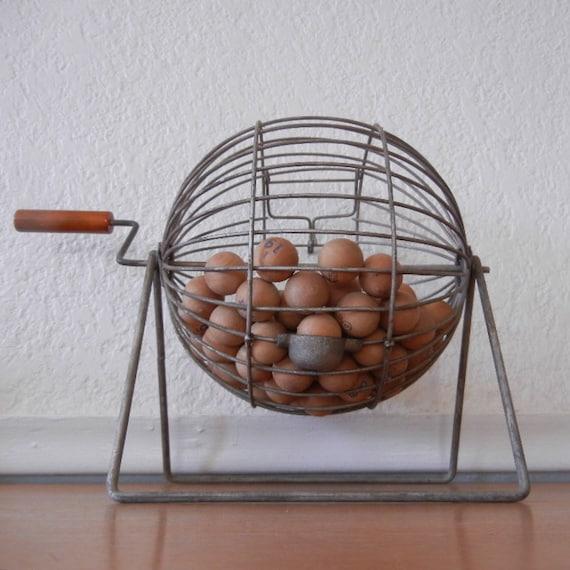 Retro Bingo Cage, Metal w Wood Call Numbers & Bakelite Handle c. 1940s