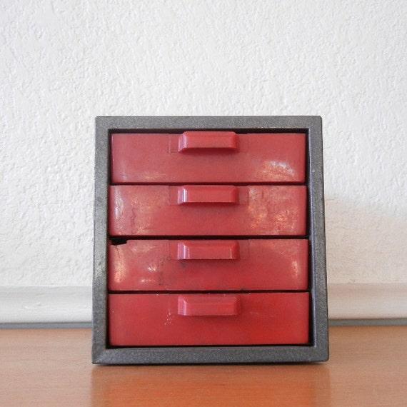 Industrial Metal Storage Box, Vintage Dunlap 4 Drawer Tool Parts Cabinet