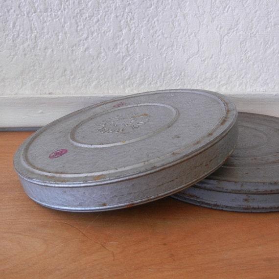 Vintage Film Canisters, Industrial Film Reel Metal Cases, Unique Storage