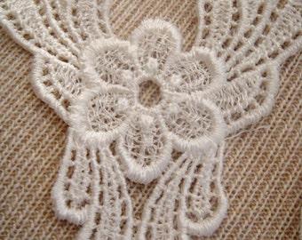 SALE-6 Lace Applique, Lace, Vintage Venetian Appliques Sold as a Set of 6 - 2-0037