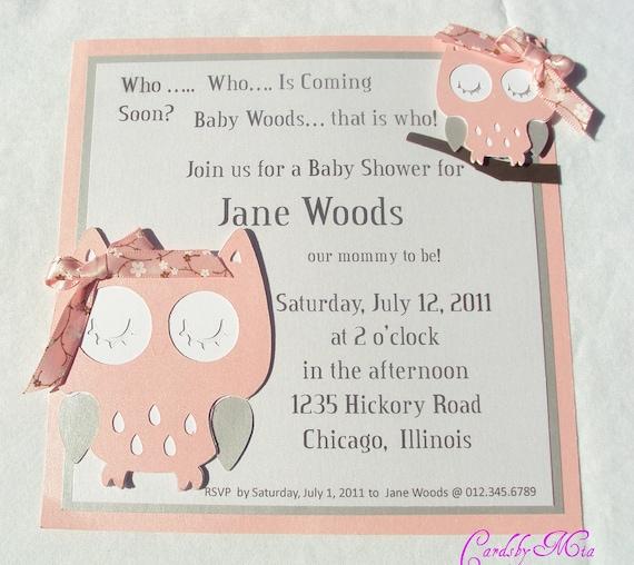 Items similar to owl baby invitations on etsy for Etsy owl wedding invitations