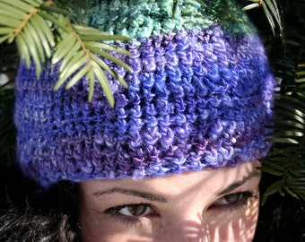 One of a Kind, Hand Spun, Hand Dyed, Purple & Green Pixie Hat