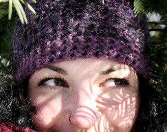 One of a Kind, Hand Spun, Hand Dyed, Purple Indigo Hat