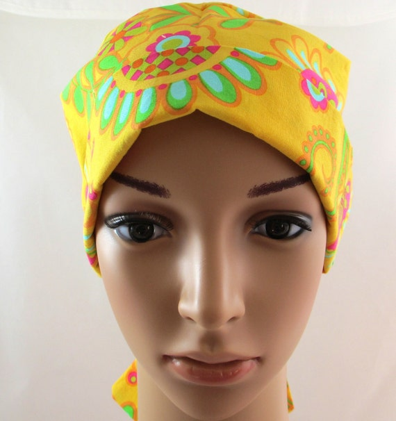 Women's Tie Back Surgical Scrub Hat/ Chemo hat with band.  Michael Miller print