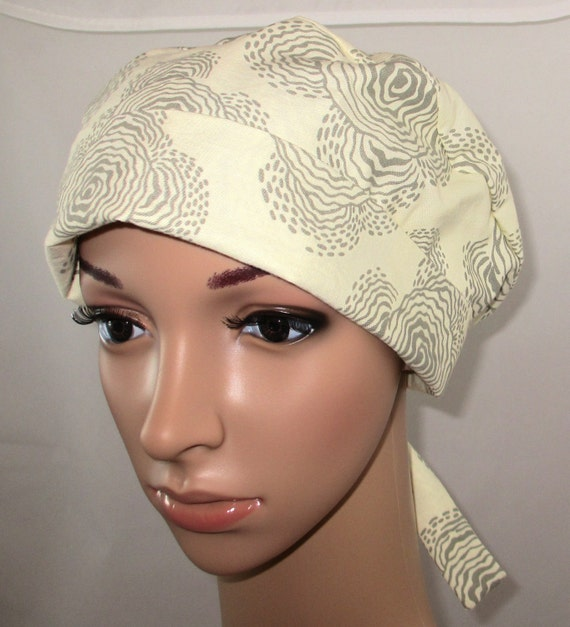 Tie Back Surgical Scrub Hat/ Chemo hat with band.  Amy Butler print