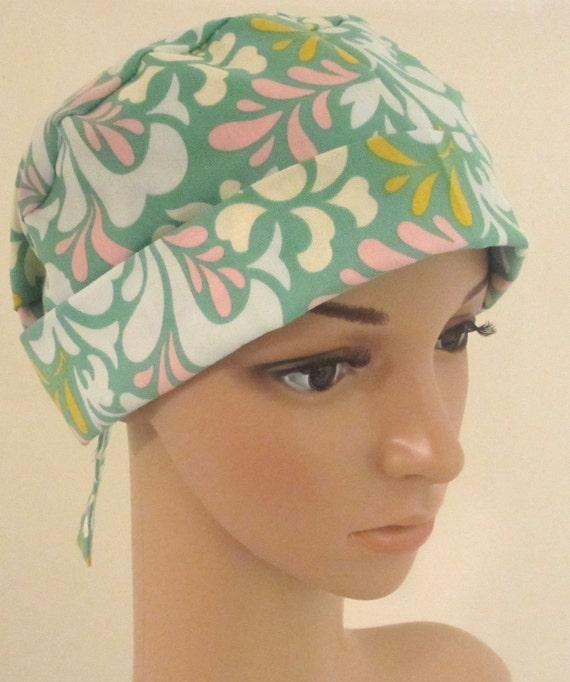 Tie Back Surgical Scrub Hat/ Chemo hat with band.  Designer print