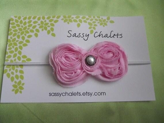 Baby Hair Bow-- Headband Light Pink Bow Skinny Headband Baby Headband