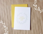 happy mother's day - spring floral letterpress greeting card