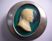 1800s Antique Silver Celluloid Vanity Jewelry Pill Snuff Box Green Celluloid White Dante Carved