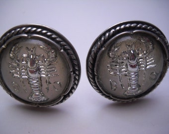 Rare Sterling Silver Taxco Marcel Boucher Parisina Glass Covered Lobster Cufflinks