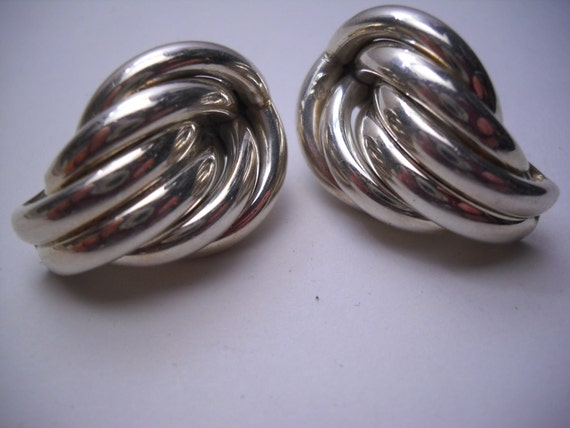 Signed Sterling Silver Taxco Style Mexico DF Earrings TANE Orfebres 925