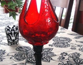 Vintage Votive Candle Holder Red Crackled Glass Unique  - Black Candle Stick - Cottage - Shabby Chic - Romance - Repurposed Candle OOAK