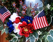 Patriotic Wreath with Flags, Sparkle and lots of Red, White, and Blue