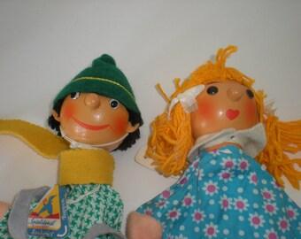 2 Vintage East German Handmade Hand Puppets Sonneberger