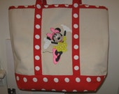 HandPainted ,Minnie Mouse on a Reusable, 100% Cotton Canvas, Red Polka-Dot Tote