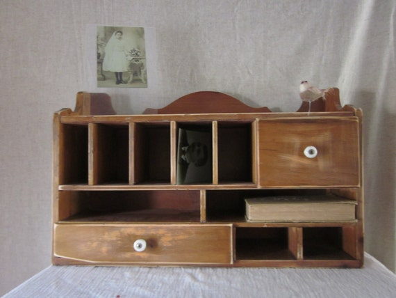 Wood Cabinet Mail Organizer  and Supplies