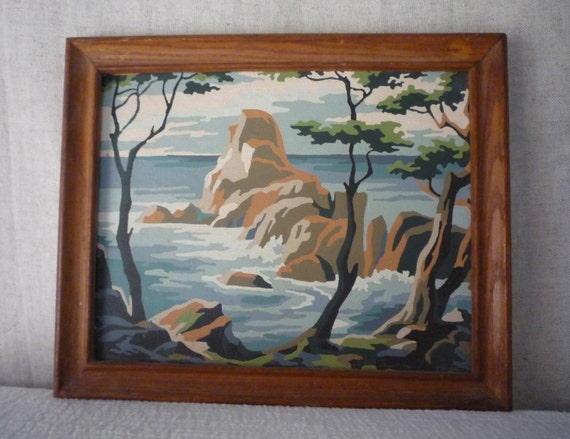 "Framed landscape painting - Paint By Number, Midcentury Winter Scene,Sea ""Early Autumn"""