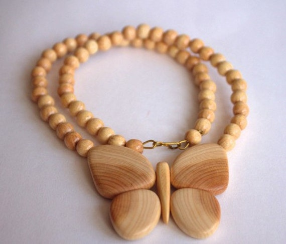 RESERVED for Hana. Wooden necklace with butterfly and Long Cigarette Holder fits Regular of Pear Root.