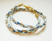 BRACELET // pale blue and aqua blue braid wrap