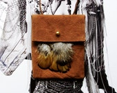 RESERVED for Parnissia // NECK POUCH // caramel leather with feathers