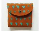 COIN PURSE // toffee suede with mint green s triangles