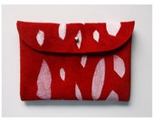 CLUTCH (s) // red suede with white print pattern