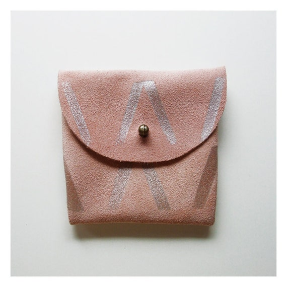 COIN PURSE // pink suede with silver print