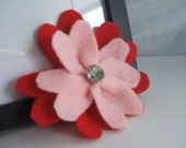 Felt flower pin: Red and light pink flower pin with vintage rhinestone button.