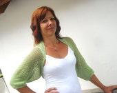 Hand knitted crochet shrug, 3/4 sleeved, green cotton, size S, handmade, spring, summer