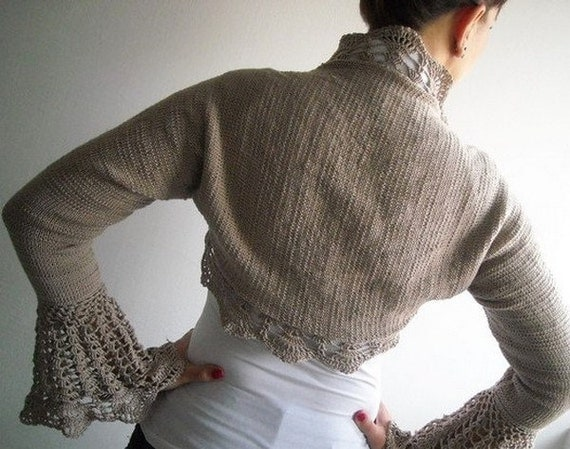 Hand knit crochet shrug, bolero long sleeved, cappuccino  pale brown beige