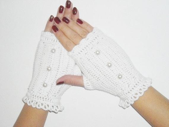 Fingerless gloves handmade crochet mittens, white cotton - OOAK