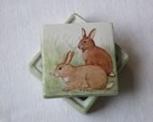 RABBIT Porcelain Small Trinket Box, handpainted