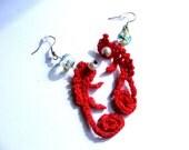 Red Chameleons Crochet Earrings