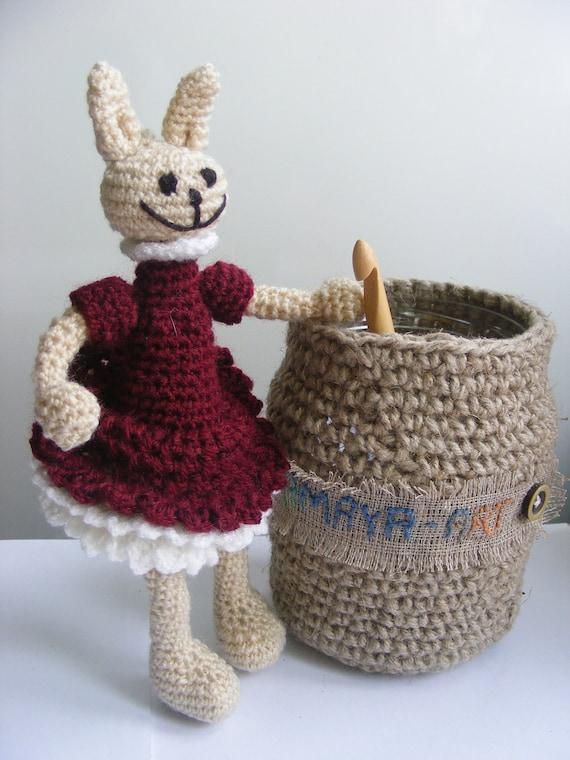 bunny girl in claret dress, crochet toy,  rabbit