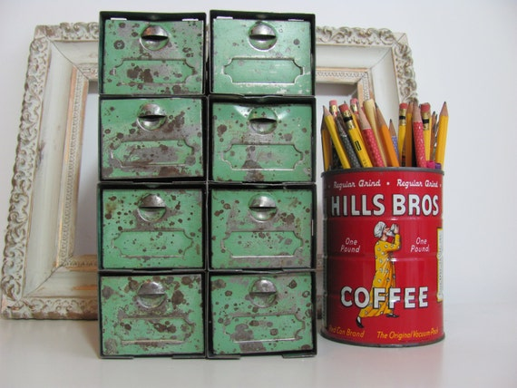 Vintage Mint Green Metal Industrial Drawer Storage Unit