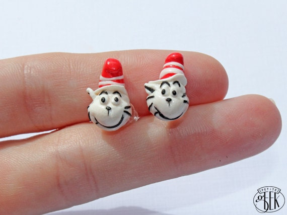 Dr Seuss The Cat in the Hat inspired Earrings - Studs