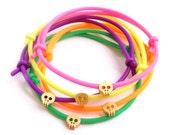 Tiny Skull Bracelet - Rubber Bracelet w/ Matte 14k Gold Plated Tiny Skull - Choose Color - Neon Pink Yellow (Available also in Silver)