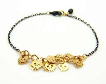 Tiny Skull Bracelet - Gold Skull Charms on Gold & Black Delicate Chain with Black Glass Faceted Pendant - Gold Skull Bracelet